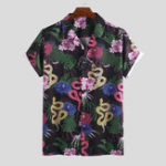 New Men Oriental Print Short Sleeve Revere Shirts