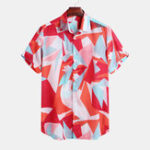 New Mens Geometric Color Blocks Printed Loose Casual Shirts