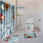 New Christmas Snowman Bath Shower Curtain Toilet Seat Cover Mat Cushion Set Non Slip