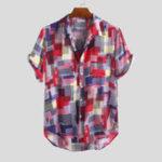New Mens Summer Colorful Plain Printed Pocket Casual Shirts