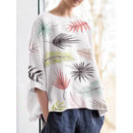 New S-5XL Vintage Floral Print Crew Neck 3/4 Sleeve Blouse