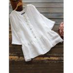 New Women 3/4 Sleeve Cotton O Neck Button Down Blouse