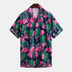 New Mens Flamingo Printing Short Sleeve Summer Loose Shirts