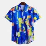 New Mens Summer Casual Loose Printed Painting Colorful Shirts
