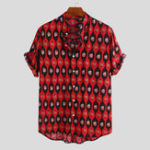 New Men kernel Print Short Sleeve Relaxed Shirts