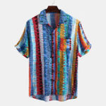 New Men Colorful Art Stripe Short Sleeve Hawaiian Shirts