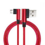 New 2M 90 Degree 2.4A Fast Charging Nylon Braided Data Cable For Smartphone Tablet