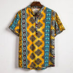 New Mens Ethnic Summer Colorful Printed Henley Shirts