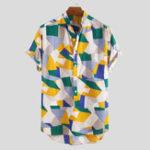 New Mens Summer Fashion Casual Loose Color Blocks Printing Shirt