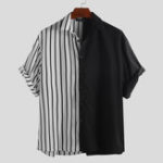 New Black and Stripes Patchwork Design Splicing Fashion Shirts