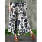 New Women Cotton Polka Dot Printed Pockets Trouser Pants