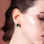 New Luxury Emerald Rhinestone Lady Ear Stub