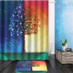 New Day & Night Tree Shower Curtain Liner Bathroom Mat Set w/ Hooks Polyester Fabric