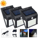 New 30/40/50 LED Outdoor Human Body Induction Solar Wall Lamp Waterproof IP44 Solar Motion Sensor Lights