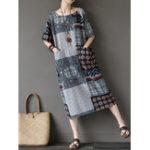 New Women Bohemian Print Loose Short Sleeve Pockets Dress