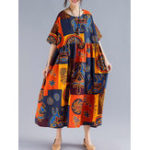 New Women Retro Folk Style Print Loose O-Neck Short Sleeve Dress