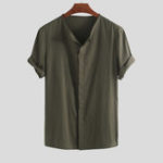 New Men Solid Color Cotton Short Sleeve Relaxed Shirts