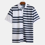 New Mens Summer Stripe Hit Color Loose Casual Golf Shirts