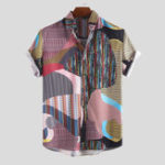 New Men Colorful Irregular Pattern Mix Stripe Short Sleeve Shirt