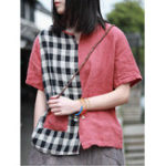 New Women Plaid Patchwork Short Sleeve Blouse with Pocket