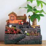 New Resin Micro Landscape Succulents Plant Flower Pot With Lights Home Desktop Decorations