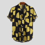 New Mens Contrast Color Blocks Summer Fashion Printing Shirts