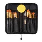 New 15PCS Nylon Hair Artist Paint Brushes Palette Sponge Set with Storage Case Watercolor Paint Acrylic Oil Painting Art supplies