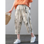 New Women Casual Striped Elastic Waist Pockets Trousers Pants