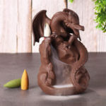 New Dragon Ceramic Waterfall Backflow Cone Incense Burner Smoke Censer Holder Decor