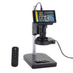 New HAYEAR 5 Inch Screen 16MP 1080P 60FPS HDMI USB & WIFI Digital Industry Microscope Camera +Table Stand +100X C-mount Lens +40 LED Light