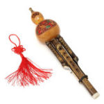 New Natural Bamboo Chinese Hulusi Gourd Cucurbit Flute Bb Tone Yunnan Ethnic Music Instrument