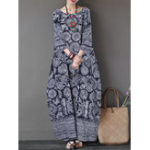 New Women 3/4 Sleeve O-neck Loose Baggy Floral Maxi Dress