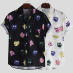 New Mens Summer Short Sleeve Interesting Cartoon Printing Shirts
