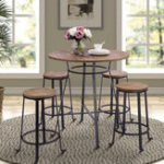New folding table TREXM 36″ Height Retro Rustic Pub Bar Table Round Wood Table with Heavy-Duty Metal Legs