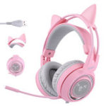 New SOMIC G951 Pink Cat Headphones Virtual 7.1 Noise Cancelling Gaming Headphone Vibration LED USB Headset for Live PC