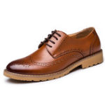 New Genuine Leather Brogue Carved Business Casual Oxfords
