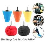 New 5pcs Burnishing Foam Sponge Polishing Cone Ball Buffing Pad Car Wheel Hub Cleaner Polishing Sponge Set