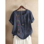 New Women Bohemian Embroidery Floral Short Sleeve T-Shirts