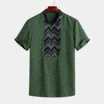 New Mens Vintage Stripe Pattern Breathable Stand Collar Shirts