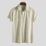 New Mens 100% Cotton Casual Double Pockets Loose Shirts