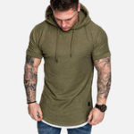 New Men Solid Color Short Sleeve Relaxed Hooded T-Shirts