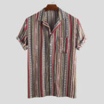 New Mens Summer Ethnic Stripe Printed Pocket Casual Shirts