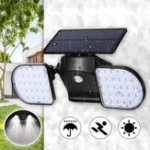New 56 LED Solar Dual Head Motion Sensor Light Outdoor Garden Adjustable Spotlight