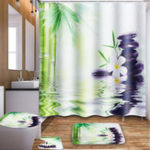 New 180x180cm Bamboo Orchid Stone Bathroom Shower Curtain with Hooks Toilet Rug Cover