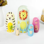 New 5Pcs/Set Matryoshka Animal Wooden Russian Doll Nesting Dolls Christmas Kids Gift Decorations