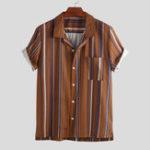New Mens Summer Short Sleeve Stylish Striped Shirts