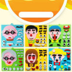 New Children's Emoticon Jigsaw Puzzle Toy Non-Woven Material Toys Family Expressions Puzzle Hand-Applied Facial Features Stickers