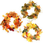 New Thanksgiving Fall Harvest Wreath Maple Leaf Leaves Wreath Garland with Light Strip Home Decorations