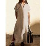 New Women Cotton V-Neck Short Sleeve Split Hem Pockets Dress