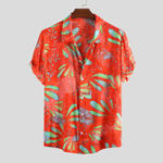 New Mens Ethnic Printed Summer Turn Down Collar Loose Shirts